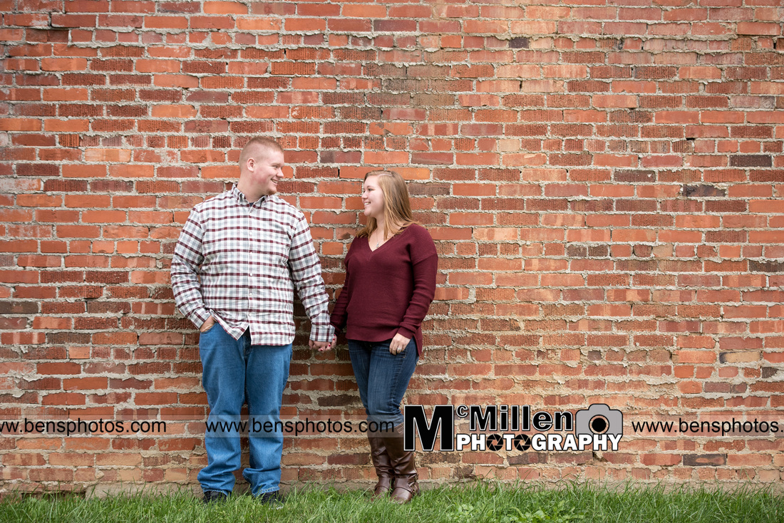 brick wall engagement session